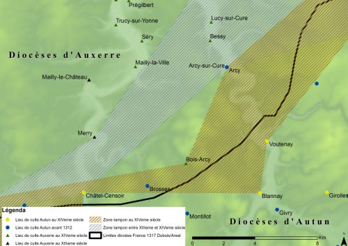 Figure 7 : Superposition des zones tampons entre le diocèse d'Auxerre et le diocèse de Autun (XIIIe et XIVe siècles)